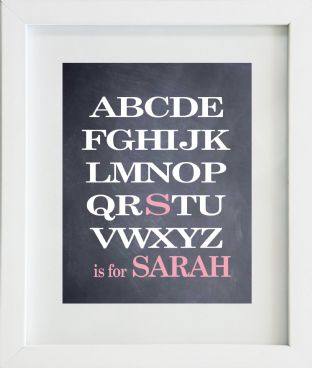 Personalised Alphabet Girls Name Chalk Board Print
